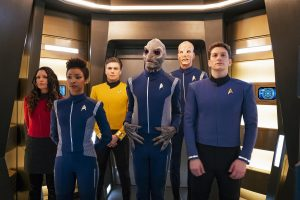 Captain Pike and his gang chilling in the turbolift of the USS Discovery