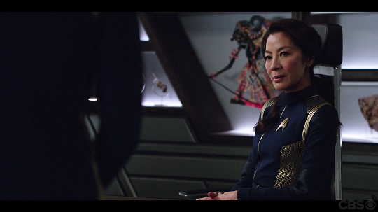 "Captain Philippa Georgiou of the USS Shenzhou in Star Trek Discovery ""The Vulcan Hello."""