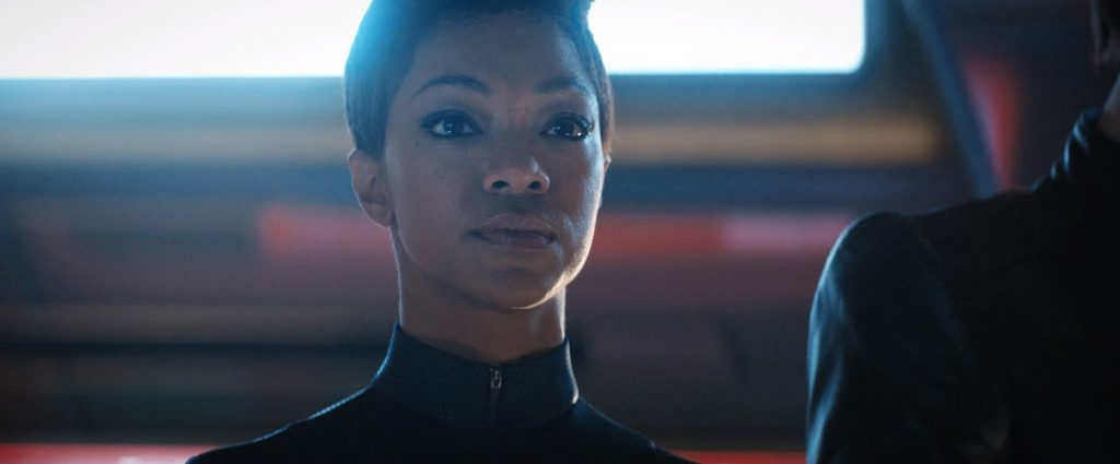 Michael Burnham looking resolute in Such Sweet Sorrow